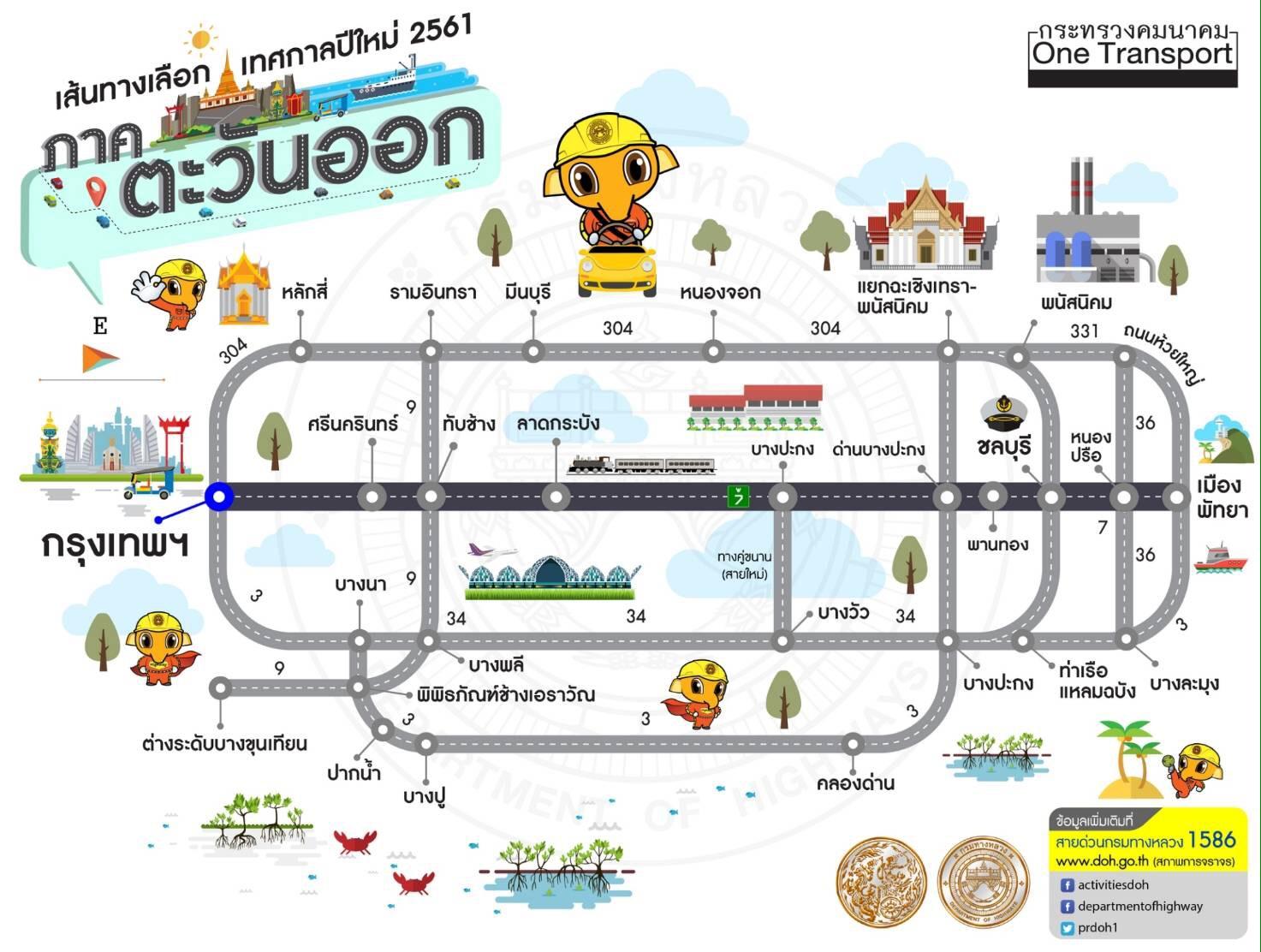 แผนที่เส้นทางกรุงเทพ-ภาคตะวันออก